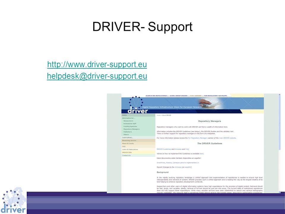 DRIVER- Support http://www.driver-support.eu helpdesk@driver-support.eu