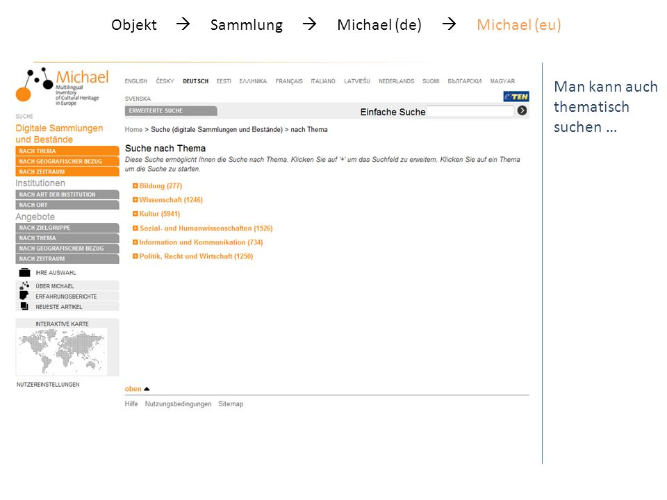 Objekt Sammlung Michael (de) Michael (eu) Man kann auch thematisch suchen … Bei gleicher Struktur im deutschen Michael-Portal