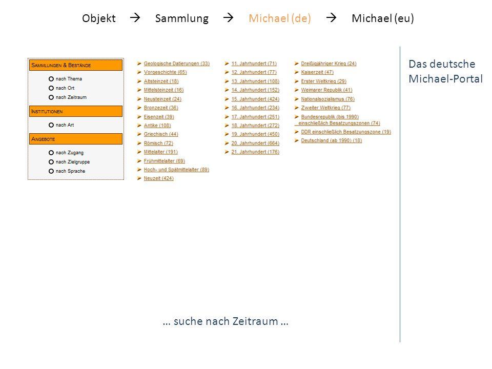 Das deutsche Michael-Portal … suche nach Zeitraum … Objekt Sammlung Michael (de) Michael (eu)