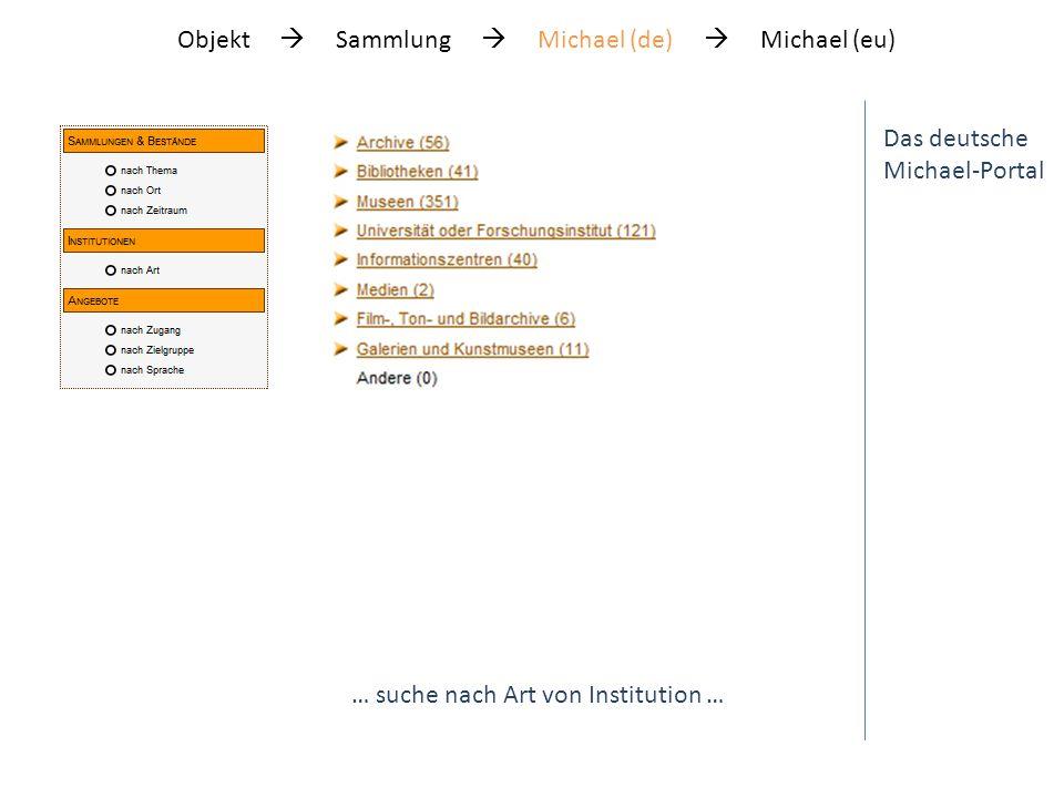 Das deutsche Michael-Portal … suche nach Art von Institution … Objekt Sammlung Michael (de) Michael (eu)