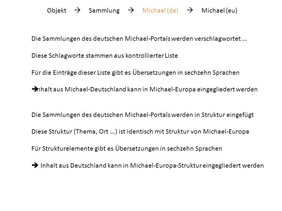 Objekt Sammlung Michael (de) Michael (eu) Und umgekehrt … Wer in einer der sechzehn Sprachen bei Michael-Europa sucht, - kann deutsche Sammlungen finden - findet diese aufgelistet neben finnischen, englischen, französischen … Sammlungen … noch einmal zurück …