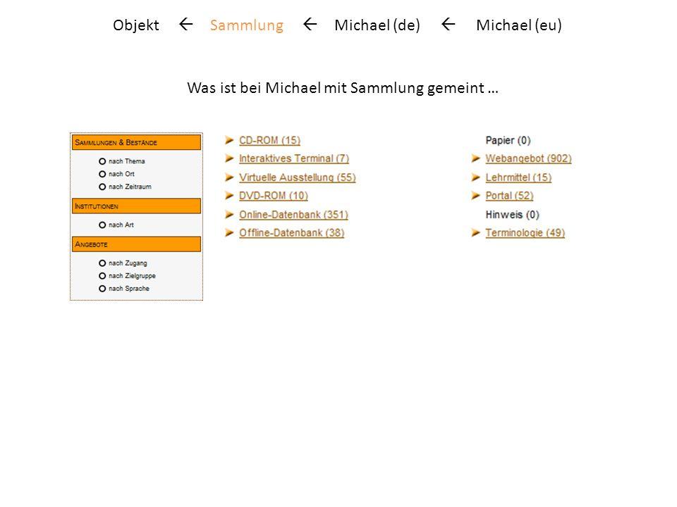 Objekt Sammlung Michael (de) Michael (eu) Was ist bei Michael mit Sammlung gemeint …
