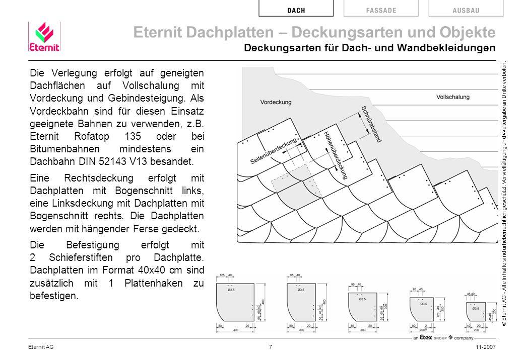 Eternit Dachplatten – Deckungsarten und Objekte © Eternit AG - Alle Inhalte sind urheberrechtlich geschützt.