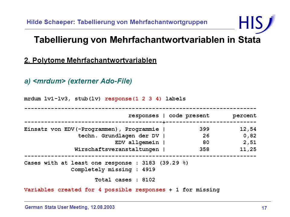 17 German Stata User Meeting, 12.08.2003 Hilde Schaeper: Tabellierung von Mehrfachantwortgruppen Tabellierung von Mehrfachantwortvariablen in Stata 2.