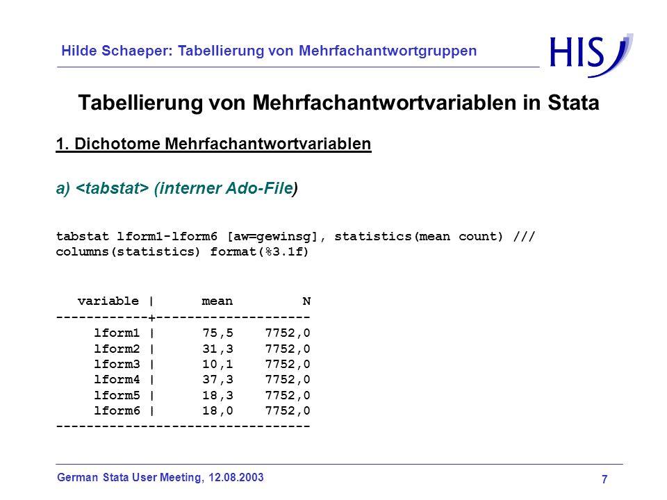 7 German Stata User Meeting, 12.08.2003 Hilde Schaeper: Tabellierung von Mehrfachantwortgruppen Tabellierung von Mehrfachantwortvariablen in Stata 1.
