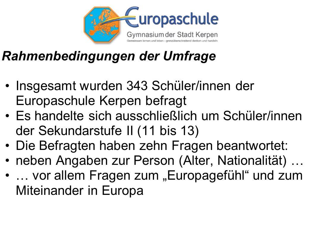 Rahmenbedingungen der Umfrage Insgesamt wurden 343 Schüler/innen der Europaschule Kerpen befragt Es handelte sich ausschließlich um Schüler/innen der