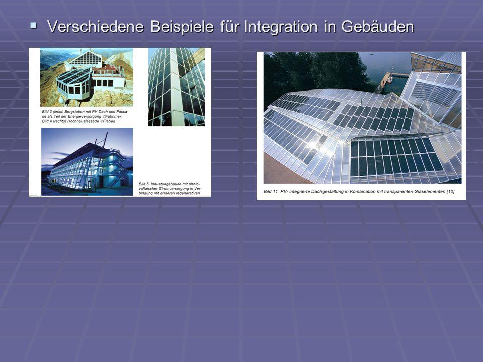 Verschiedene Beispiele für Integration in Gebäuden Verschiedene Beispiele für Integration in Gebäuden