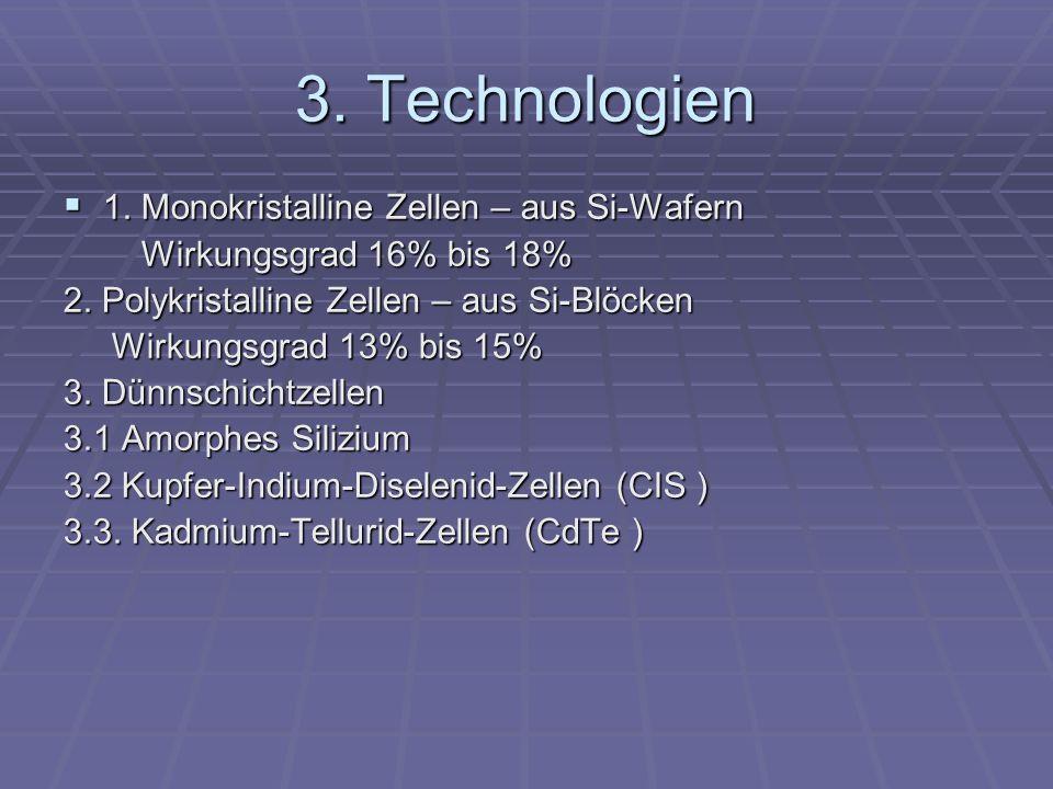 3. Technologien 1. Monokristalline Zellen – aus Si-Wafern 1. Monokristalline Zellen – aus Si-Wafern Wirkungsgrad 16% bis 18% Wirkungsgrad 16% bis 18%