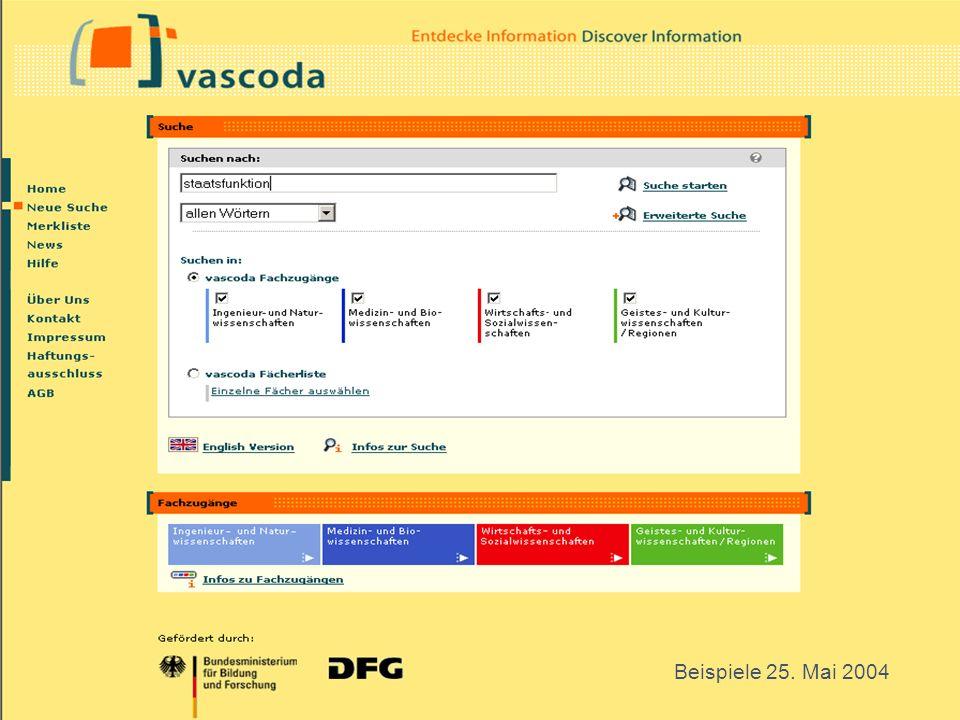 GESIS 11 Suchmaske vascoda staatsfunktion Beispiele 25. Mai 2004