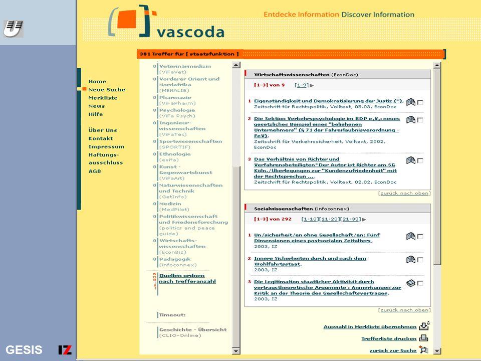 GESIS 12 Vascoda Ergebnisliste staatsfunktion
