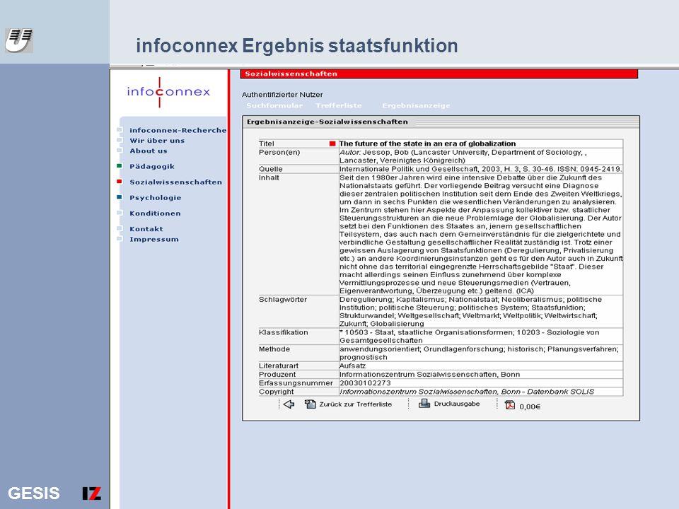 GESIS 16 infoconnex Ergebnis staatsfunktion