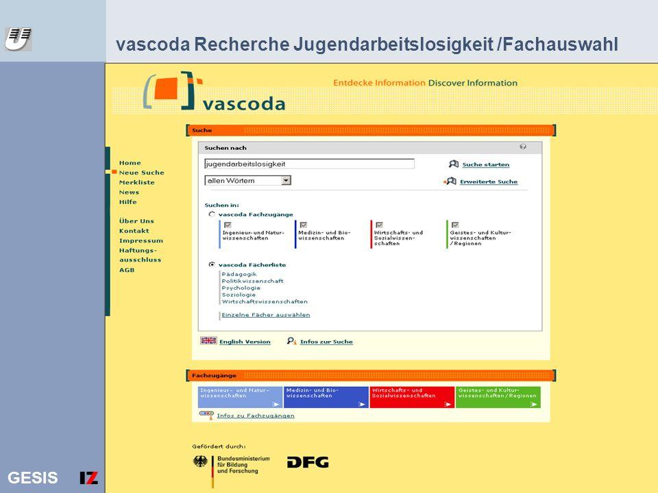 GESIS 19 vascoda Recherche Jugendarbeitslosigkeit /Fachauswahl