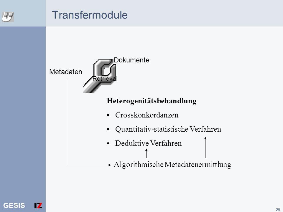 GESIS 29 Retrieval Metadaten Heterogenitätsbehandlung Crosskonkordanzen Quantitativ-statistische Verfahren Deduktive Verfahren Dokumente Algorithmisch