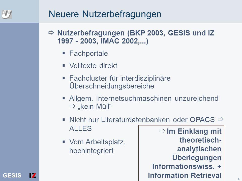 GESIS 4 Nutzerbefragungen (BKP 2003, GESIS und IZ 1997 - 2003, IMAC 2002,...) Fachportale Volltexte direkt Fachcluster für interdisziplinäre Überschne