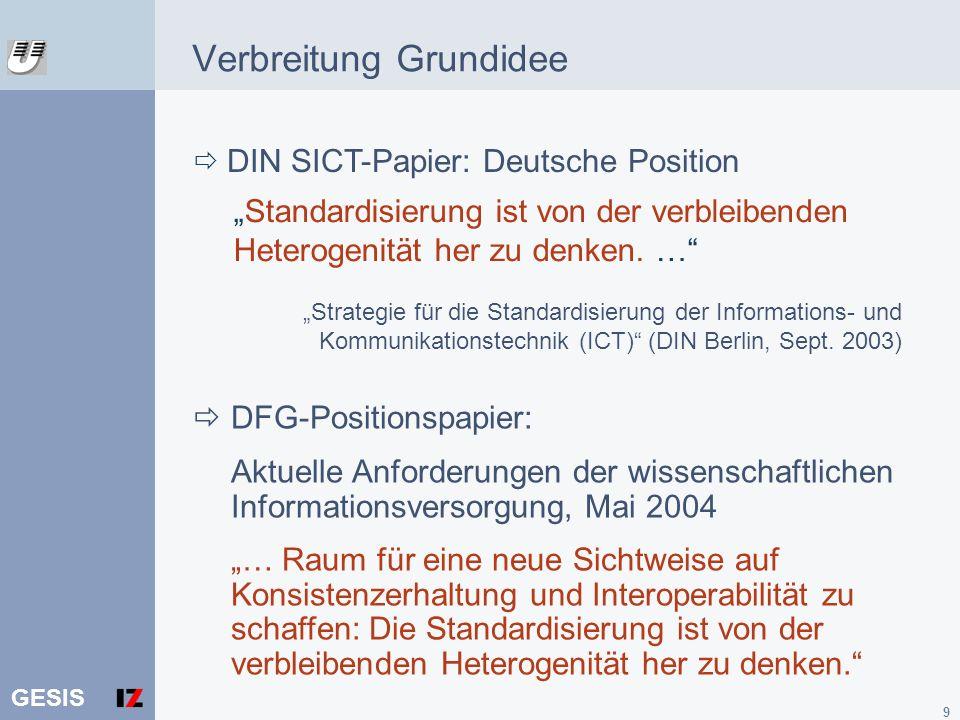 GESIS 9 Verbreitung Grundidee Strategie für die Standardisierung der Informations- und Kommunikationstechnik (ICT) (DIN Berlin, Sept. 2003) Standardis