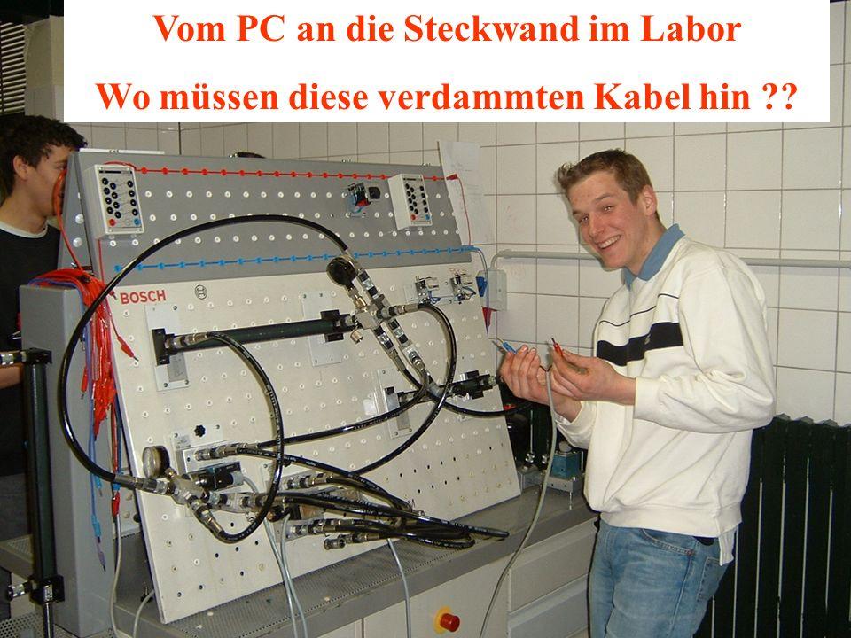 Vom PC an die Steckwand im Labor Wo müssen diese verdammten Kabel hin ??