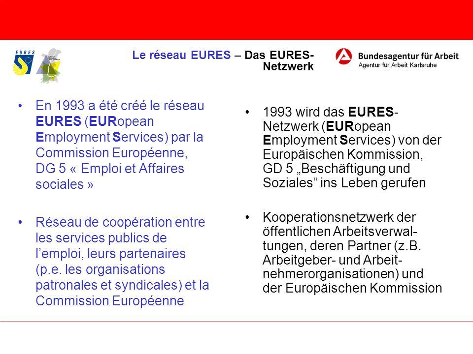 En 1993 a été créé le réseau EURES (EURopean Employment Services) par la Commission Européenne, DG 5 « Emploi et Affaires sociales » Réseau de coopéra
