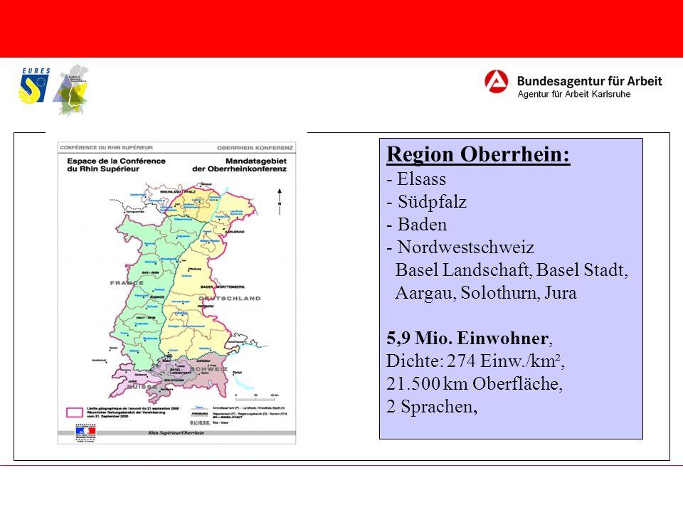Anzahl der Grenzgänger: etwa 90.000 im gesamten Oberrheinraum davon 67% aus Elsass davon 32% aus Baden Elsass Baden 25.000 Elsass Südpfalz 3.300 Elsass Nordwestschweiz 31.000 Baden Nordwestschweiz 27.500 Nordwestschweiz Baden 600 Nordwestschweiz Elsass 100 Baden Elsass 300 Südpfalz Elsass 100