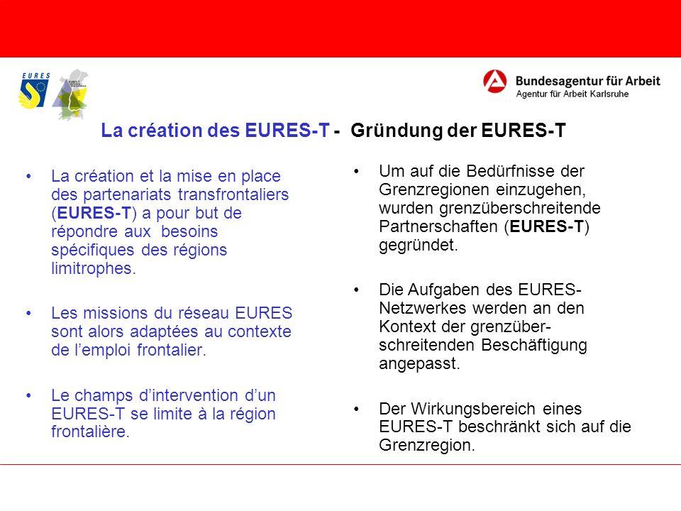 La création des EURES-T - Gründung der EURES-T La création et la mise en place des partenariats transfrontaliers (EURES-T) a pour but de répondre aux