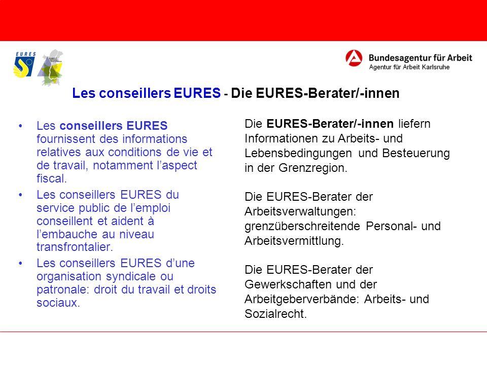 Les conseillers EURES - Die EURES-Berater/-innen Les conseillers EURES fournissent des informations relatives aux conditions de vie et de travail, not