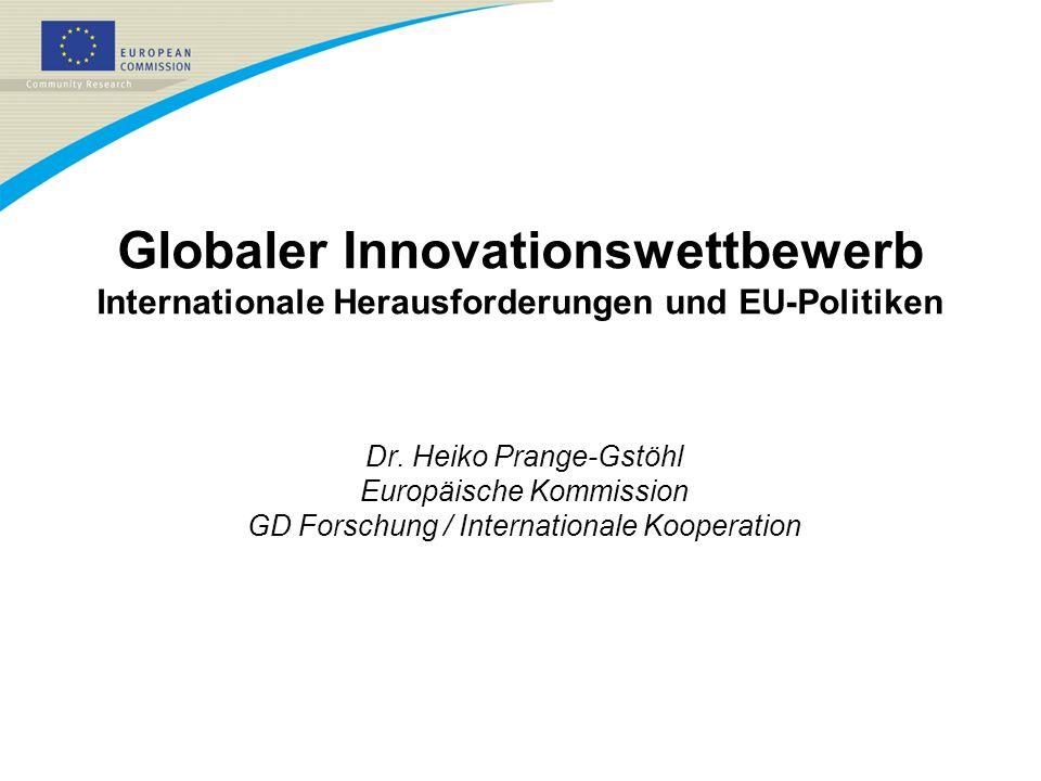 Roadmap 1.GLOBALE HERAUSFORDERUNGEN UND DIE ROLLE VON FORSCHUNG UND TECHNOLOGIE 2.INTERNATIONALISIERUNG VON FORSCHUNGS- AKTIVITÄTEN 3.F&E IN NEUEN WACHSTUMSREGIONEN 4.EU-POLITIKEN IM BEREICH FORSCHUNG UND INNOVATION 5.GLOBALER INNOVATIONSWETTBEWERB UND DIE STÄRKUNG INTERNATIONALER F&T-KOOPERATION