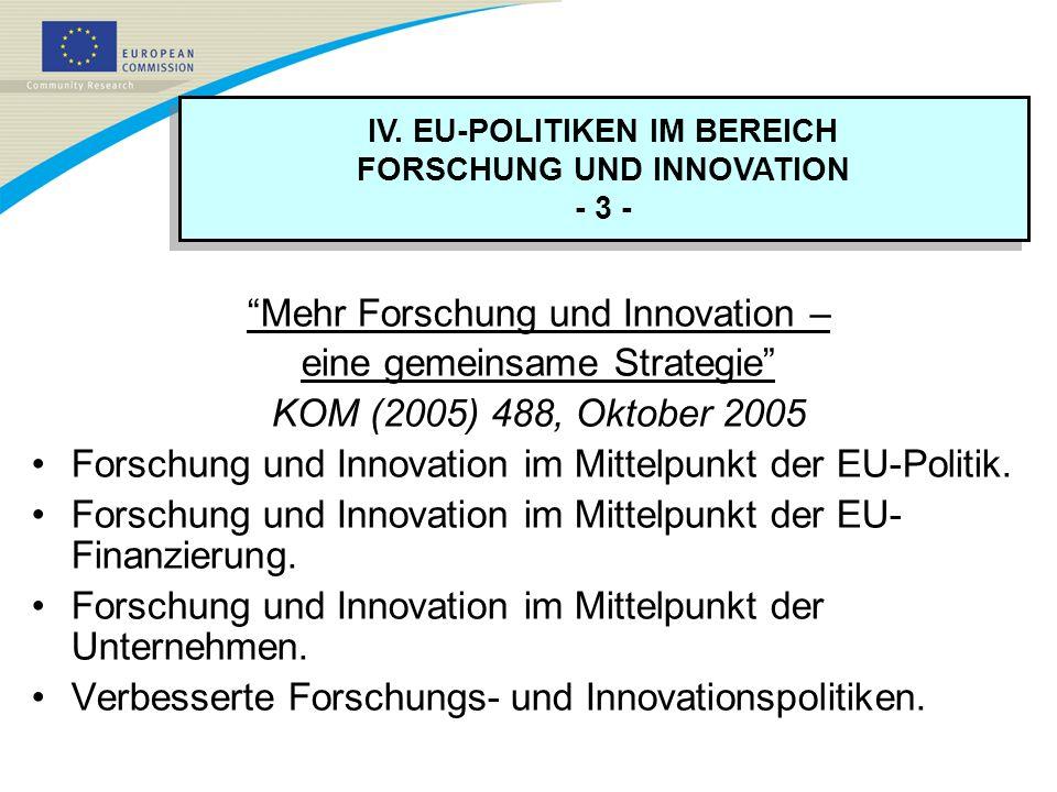 IV. EU-POLITIKEN IM BEREICH FORSCHUNG UND INNOVATION - 3 - IV. EU-POLITIKEN IM BEREICH FORSCHUNG UND INNOVATION - 3 - Mehr Forschung und Innovation –