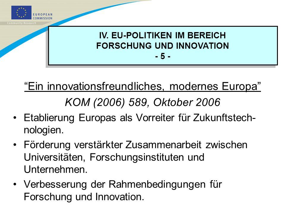 IV. EU-POLITIKEN IM BEREICH FORSCHUNG UND INNOVATION - 5 - IV. EU-POLITIKEN IM BEREICH FORSCHUNG UND INNOVATION - 5 - Ein innovationsfreundliches, mod