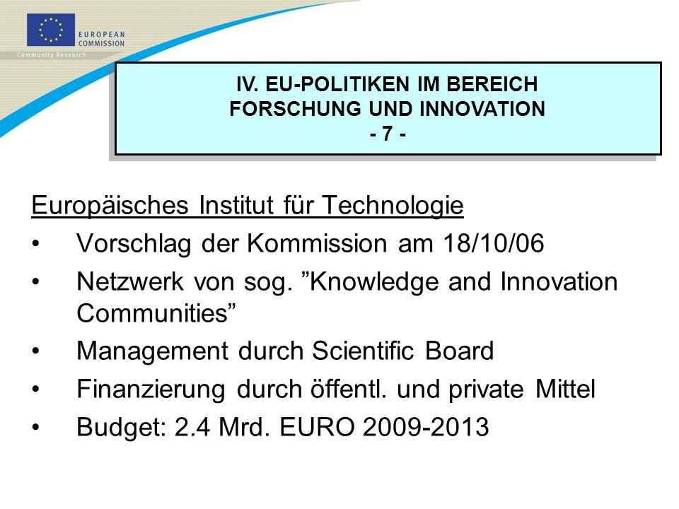 IV. EU-POLITIKEN IM BEREICH FORSCHUNG UND INNOVATION - 7 - IV. EU-POLITIKEN IM BEREICH FORSCHUNG UND INNOVATION - 7 - Europäisches Institut für Techno