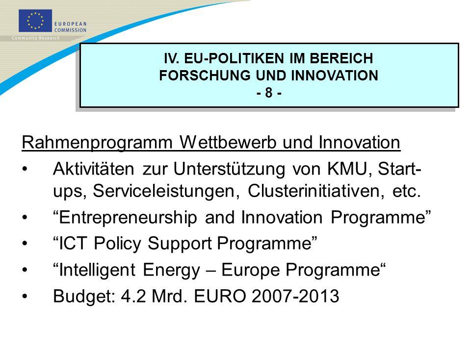 IV. EU-POLITIKEN IM BEREICH FORSCHUNG UND INNOVATION - 8 - IV. EU-POLITIKEN IM BEREICH FORSCHUNG UND INNOVATION - 8 - Rahmenprogramm Wettbewerb und In