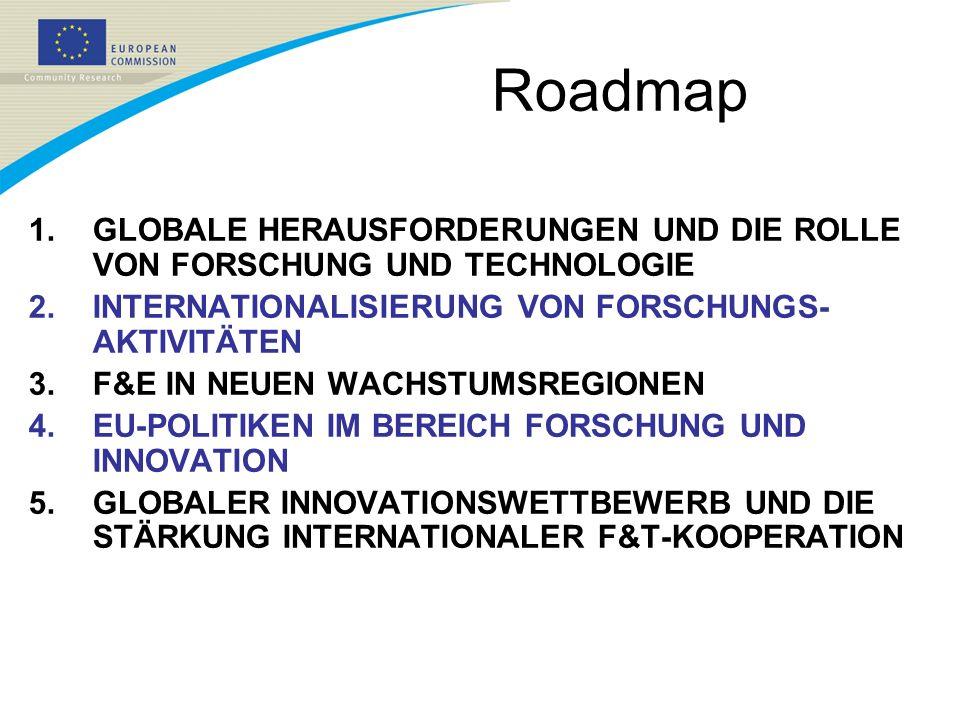 Roadmap 1.GLOBALE HERAUSFORDERUNGEN UND DIE ROLLE VON FORSCHUNG UND TECHNOLOGIE 2.INTERNATIONALISIERUNG VON FORSCHUNGS- AKTIVITÄTEN 3.F&E IN NEUEN WAC