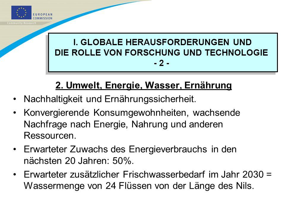I. GLOBALE HERAUSFORDERUNGEN UND DIE ROLLE VON FORSCHUNG UND TECHNOLOGIE - 2 - I. GLOBALE HERAUSFORDERUNGEN UND DIE ROLLE VON FORSCHUNG UND TECHNOLOGI