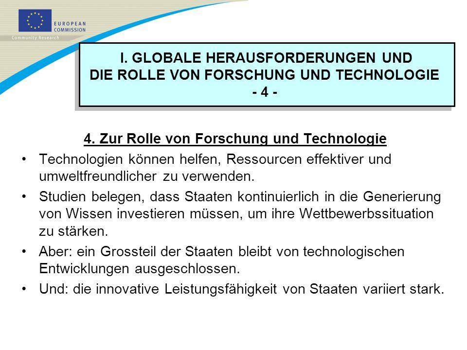 4. Zur Rolle von Forschung und Technologie Technologien können helfen, Ressourcen effektiver und umweltfreundlicher zu verwenden. Studien belegen, das
