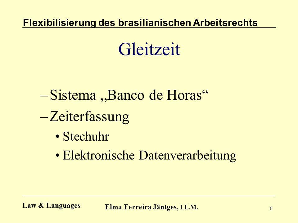 6 Gleitzeit –Sistema Banco de Horas –Zeiterfassung Stechuhr Elektronische Datenverarbeitung Flexibilisierung des brasilianischen Arbeitsrechts Elma Fe