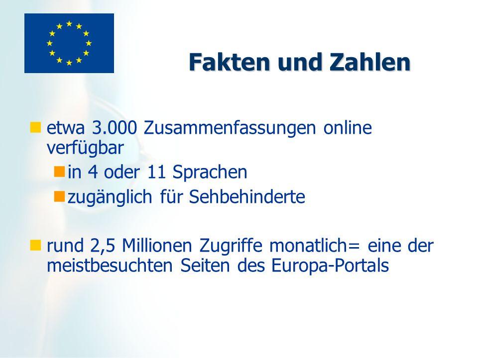 Fakten und Zahlen etwa 3.000 Zusammenfassungen online verfügbar in 4 oder 11 Sprachen zugänglich für Sehbehinderte rund 2,5 Millionen Zugriffe monatli