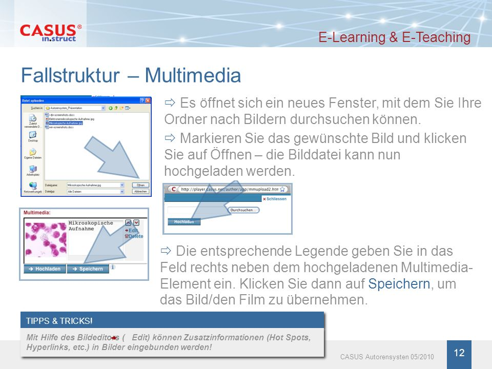 www.instruct.de 12 CASUS Autorensysten 05/2010 Fallstruktur – Multimedia E-Learning & E-Teaching Es öffnet sich ein neues Fenster, mit dem Sie Ihre Or