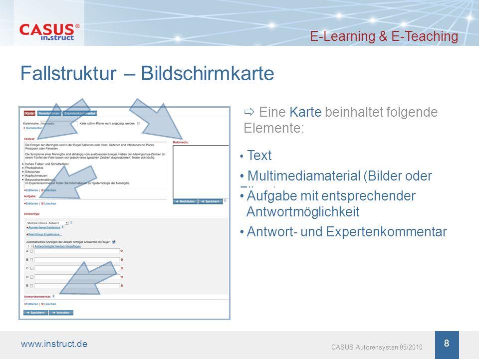 www.instruct.de 8 CASUS Autorensysten 05/2010 Fallstruktur – Bildschirmkarte E-Learning & E-Teaching Eine Karte beinhaltet folgende Elemente: Text Mul
