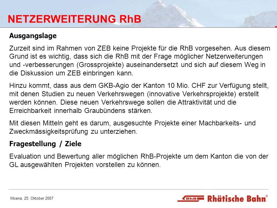 Moena, 25. Oktober 2007 NETZERWEITERUNG RhB Ausgangslage Zurzeit sind im Rahmen von ZEB keine Projekte für die RhB vorgesehen. Aus diesem Grund ist es