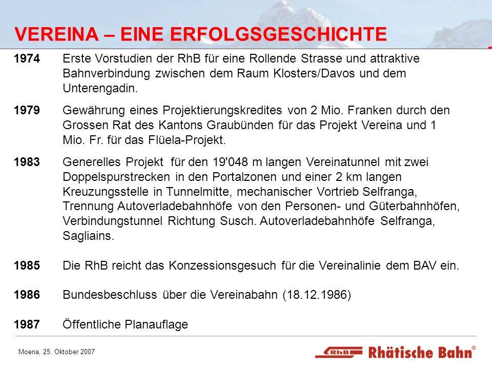 Moena, 25. Oktober 2007 VEREINA – EINE ERFOLGSGESCHICHTE 1974Erste Vorstudien der RhB für eine Rollende Strasse und attraktive Bahnverbindung zwischen