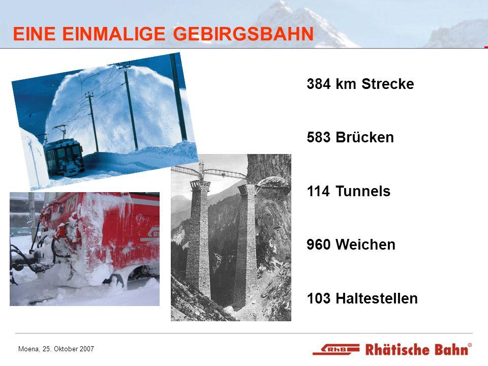 Moena, 25. Oktober 2007 EINE EINMALIGE GEBIRGSBAHN 384 km Strecke 583 Brücken 114 Tunnels 960 Weichen 103 Haltestellen