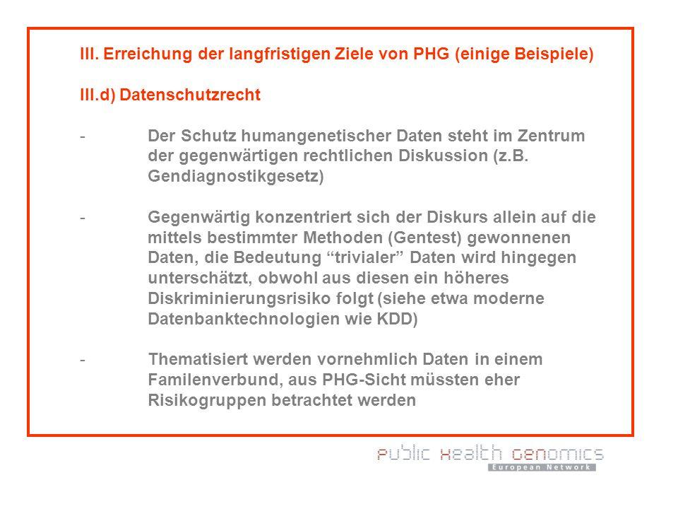 III. Erreichung der langfristigen Ziele von PHG (einige Beispiele) III.d) Datenschutzrecht - Der Schutz humangenetischer Daten steht im Zentrum der ge