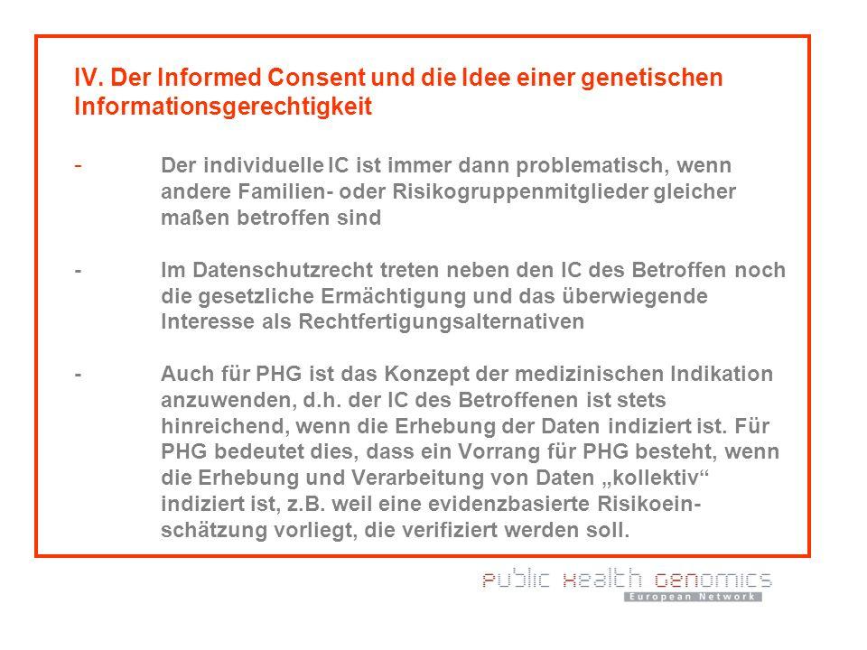 IV. Der Informed Consent und die Idee einer genetischen Informationsgerechtigkeit - Der individuelle IC ist immer dann problematisch, wenn andere Fami