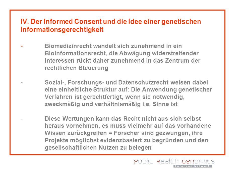 IV. Der Informed Consent und die Idee einer genetischen Informationsgerechtigkeit - Biomedizinrecht wandelt sich zunehmend in ein Bioinformationsrecht
