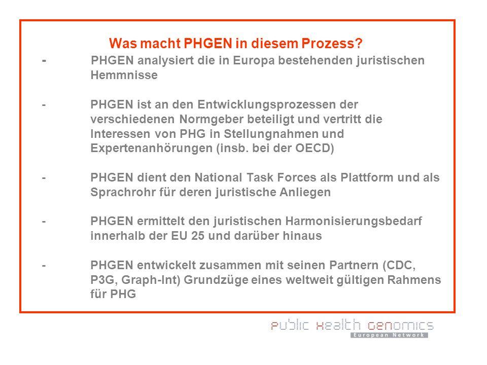 Was macht PHGEN in diesem Prozess? - PHGEN analysiert die in Europa bestehenden juristischen Hemmnisse - PHGEN ist an den Entwicklungsprozessen der ve
