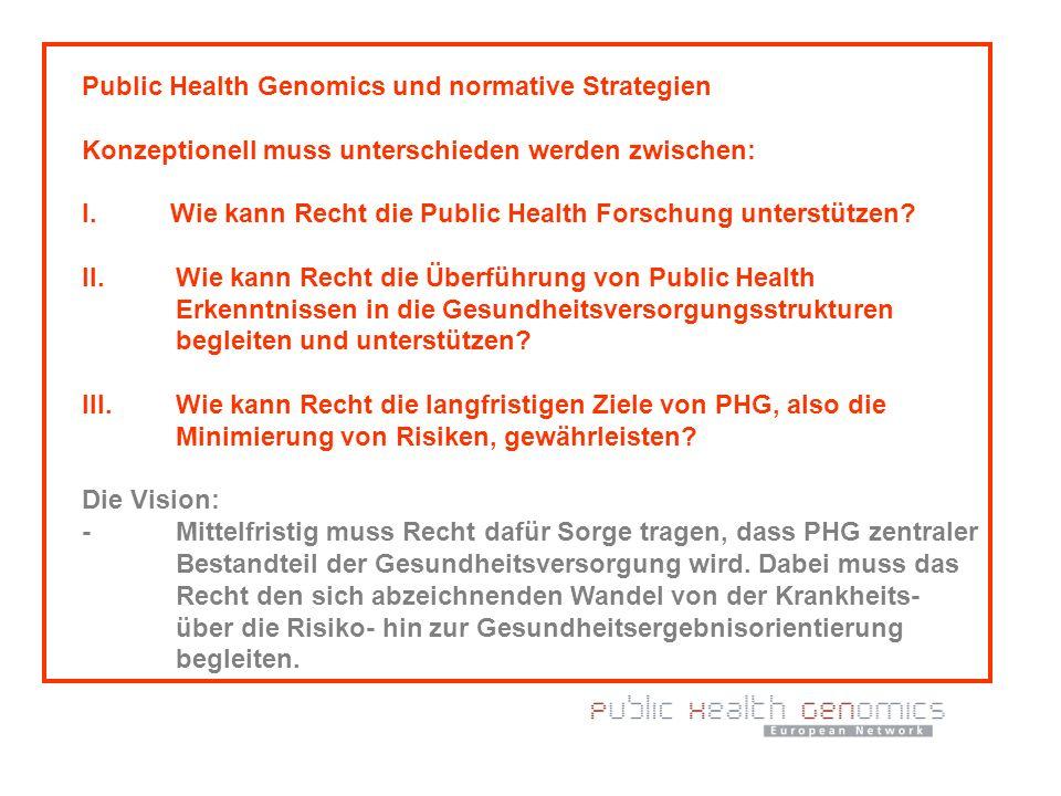 Public Health Genomics und normative Strategien Konzeptionell muss unterschieden werden zwischen: I. Wie kann Recht die Public Health Forschung unters
