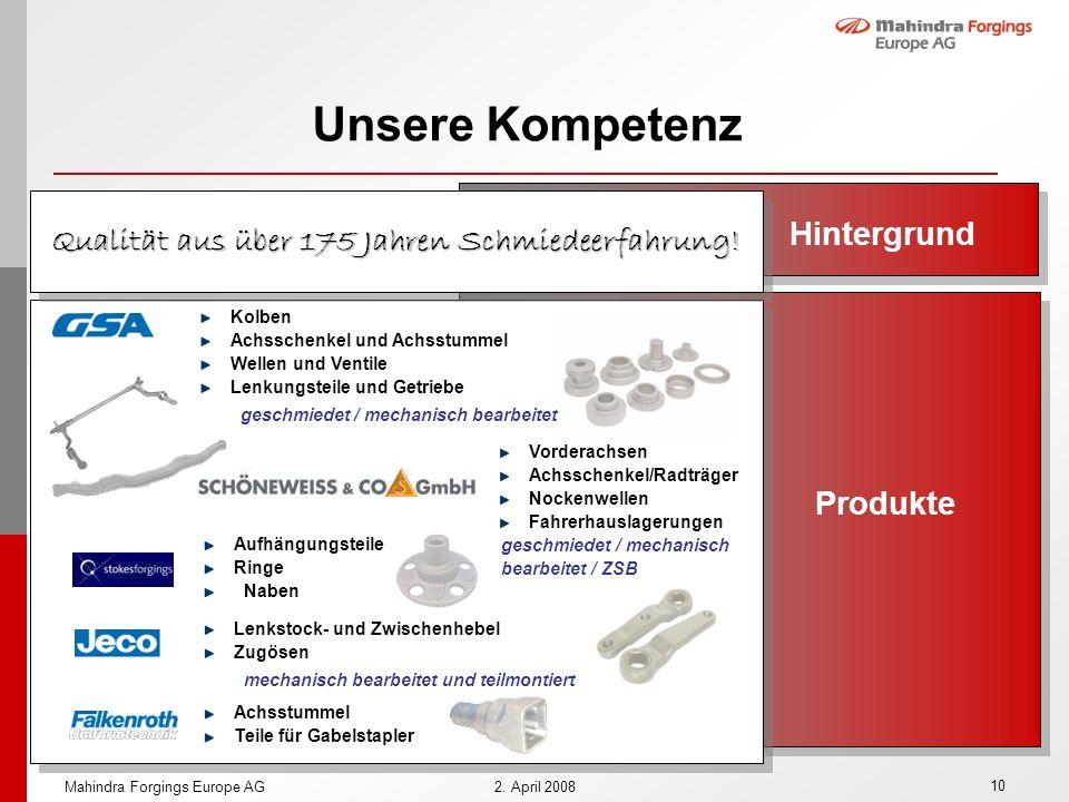 10 Mahindra Forgings Europe AG2. April 2008 Unsere Kompetenz Hintergrund Produkte Lenkstock- und Zwischenhebel Zugösen mechanisch bearbeitet und teilm