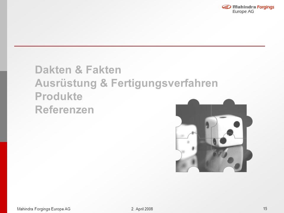 15 Mahindra Forgings Europe AG2. April 2008 Dakten & Fakten Ausrüstung & Fertigungsverfahren Produkte Referenzen