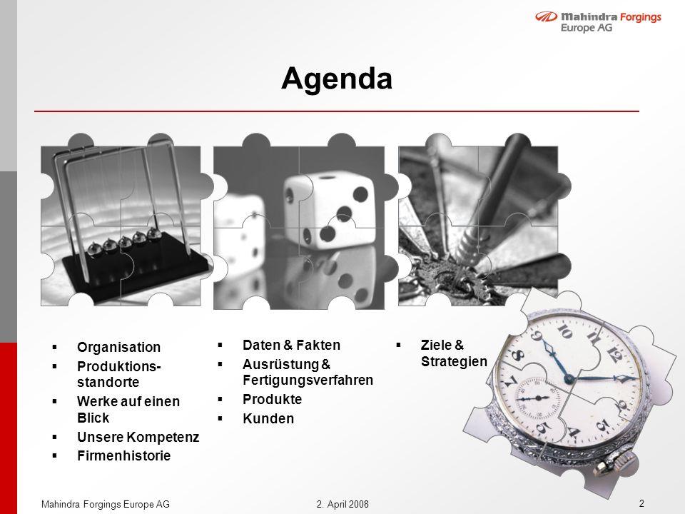 2 2. April 2008 Agenda Organisation Produktions- standorte Werke auf einen Blick Unsere Kompetenz Firmenhistorie Daten & Fakten Ausrüstung & Fertigung