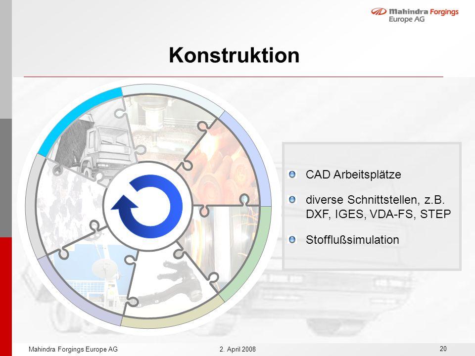 20 Mahindra Forgings Europe AG2. April 2008 Konstruktion CAD Arbeitsplätze diverse Schnittstellen, z.B. DXF, IGES, VDA-FS, STEP Stofflußsimulation
