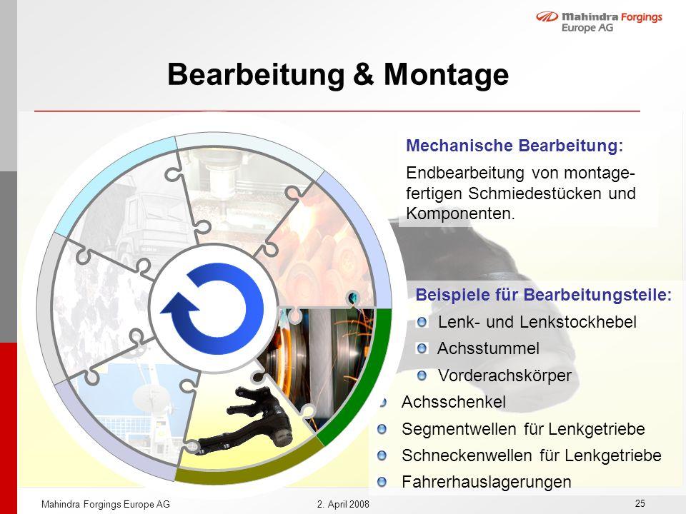 25 Mahindra Forgings Europe AG2. April 2008 Beispiele für Bearbeitungsteile: Lenk- und Lenkstockhebel Achsstummel Vorderachskörper Achsschenkel Segmen