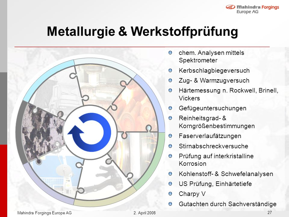 27 Mahindra Forgings Europe AG2. April 2008 Metallurgie & Werkstoffprüfung chem. Analysen mittels Spektrometer Kerbschlagbiegeversuch Zug- & Warmzugve
